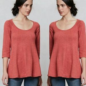 Anthropologie Deletta Pathed Seams Top 3/4 Sleeves